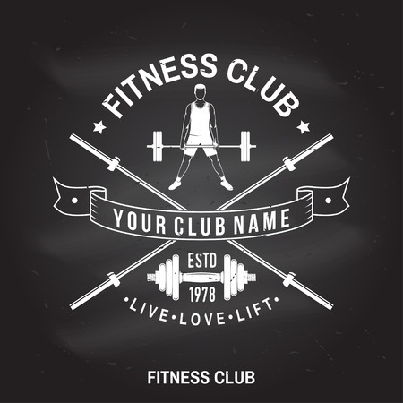 Fitness club badge. Vector. For fitness centers emblems, gym signs Archivio Fotografico - 100984313