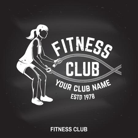 Fitness club badge. Vector illustration. Ilustração