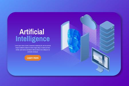 Inteligencia artificial. Ilustración vectorial isométrica.