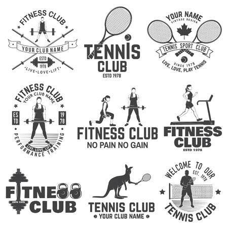Set of fitness and tennis club concept with girls doing exercise and tennis player silhouette.