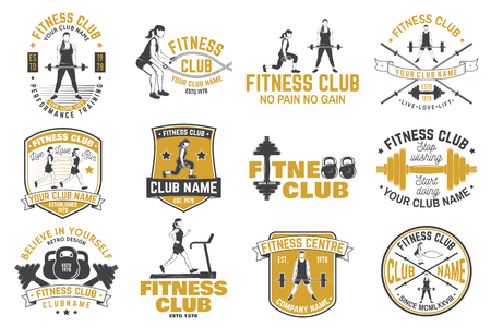 Fitness club badges Vector. For fitness centers emblems, gym signs and others. Ilustracja