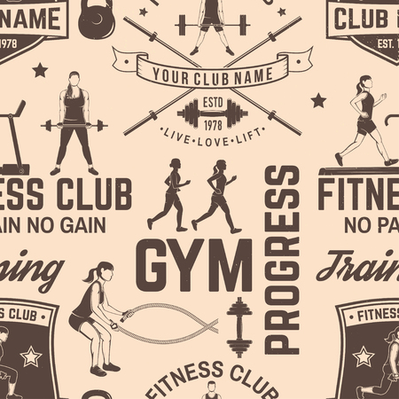 Fitness club seamless pattern or background. Vector illustration. For design fitness centers, gyms. Girl running, girl with battle ropes, workout with barbell and do dead lifts. Illustration