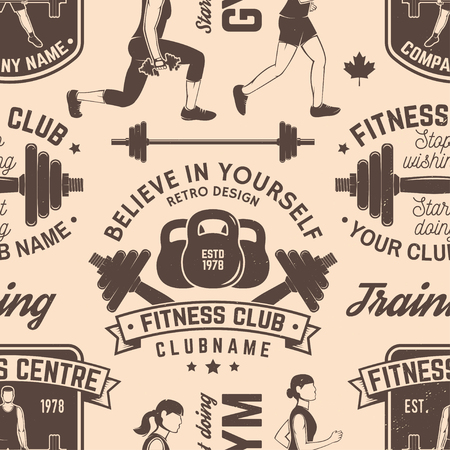 Fitness club seamless pattern or background