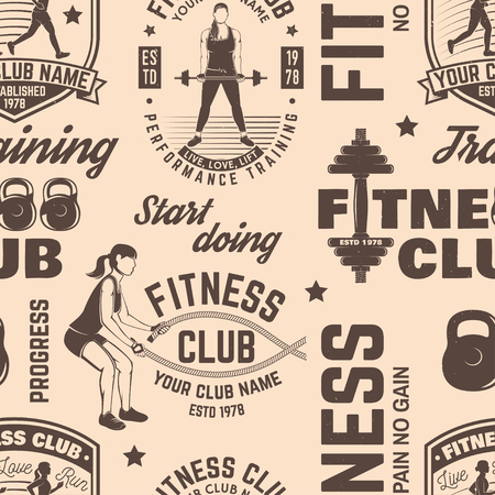 Fitness club seamless pattern or background Stock Vector - 102465208