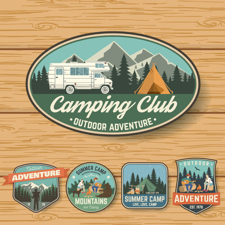 Set of Summer camp badges on the wood board