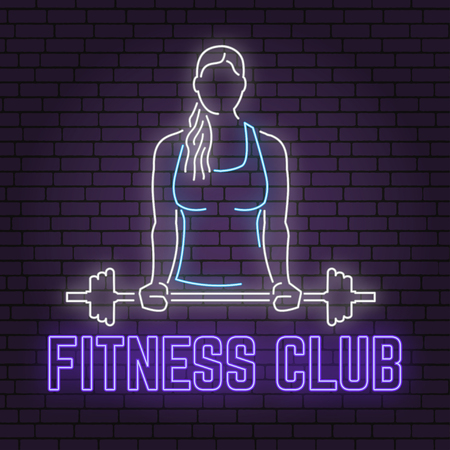 Neon fitness club sign on brick wall background