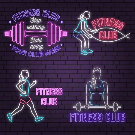 Set of neon fitness club sign on brick wall background