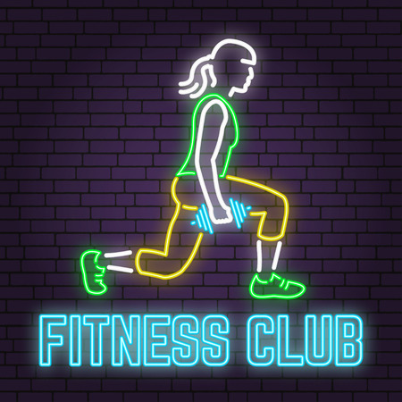 Neon fitness club sign on brick wall background. Vector illustration. Banque d'images - 101996872