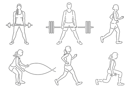 Set of fitness girls and man icon. Running, working out in gym with weight, exercises with battle ropes.