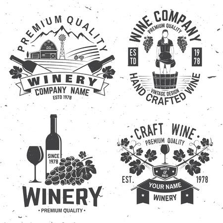 Set of winer company badge, sign or label. Vector illustration.