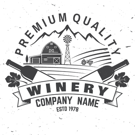 Winery company badge, sign or label. Vector illustration.