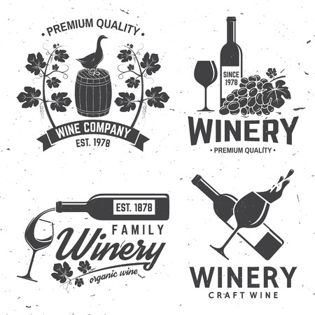 Set of winery company badge, sign or label. Vector illustration.