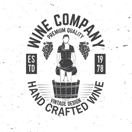 Wine company badge, sign or label. Vector illustration.  イラスト・ベクター素材