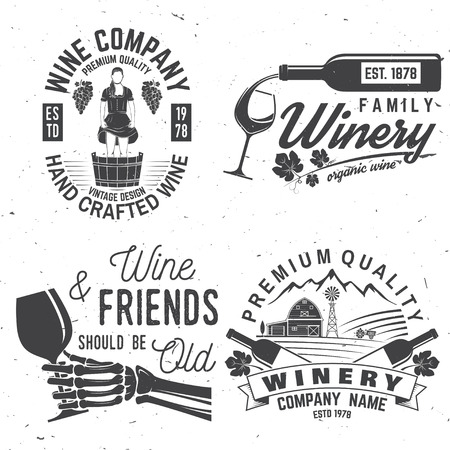 Set of winer company badge, sign or label. Vector illustration.