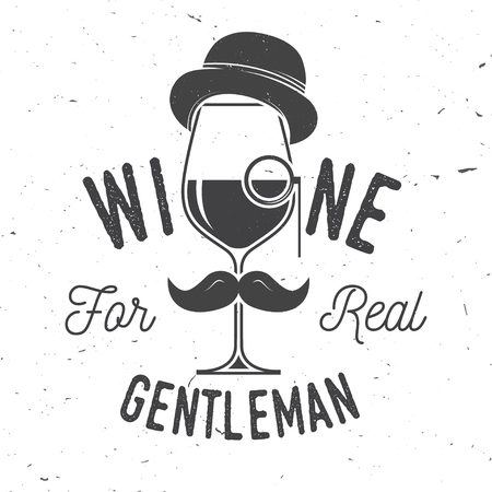 Wine for real gentleman. Winery company badge, sign or label. Çizim