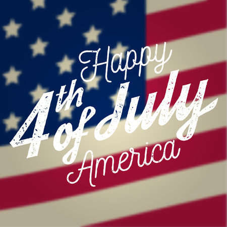 Happy 4th of july design in retro style. Fourth of July greeting card on the american national flag. 일러스트