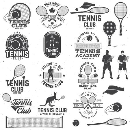 Zestaw odznak klubu tenisowego z elementem projektu. Ilustracja wektorowa. Ilustracje wektorowe