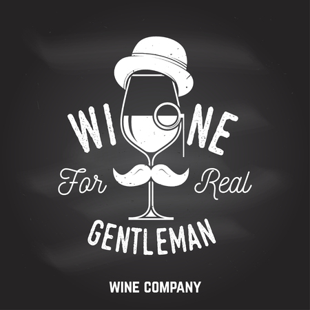 Wine for real gentleman. Winery company badge, sign or label. Illustration