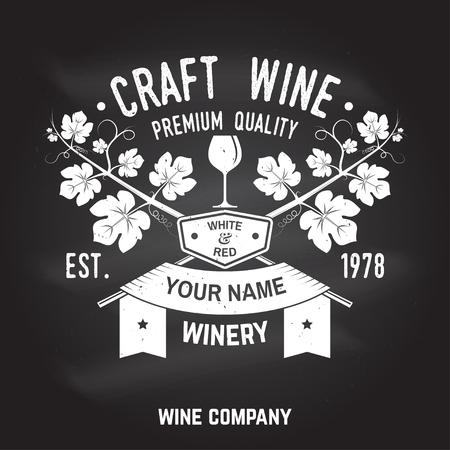 Craft wine. Winer company badge, sign or label. Vector illustration.