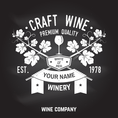 Craft wine. Winer company badge, sign or label. Vector illustration.