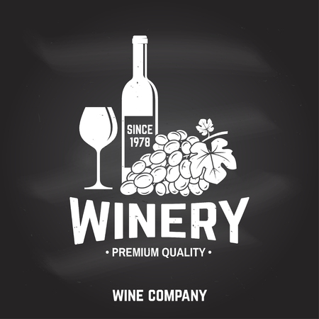 Winery badge, sign or label. Vector illustration.