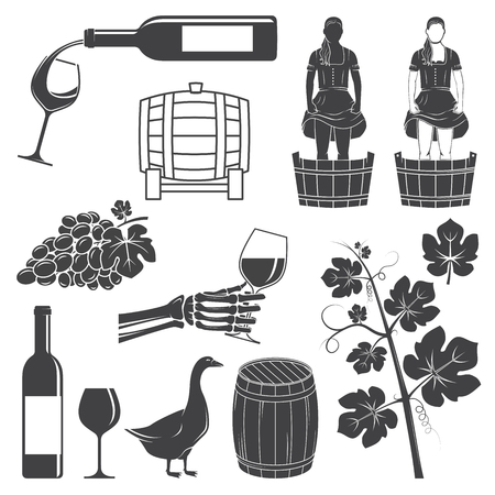 Set of Wine silhouette icons. Vector illustration. Illustration