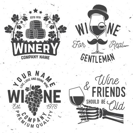 Set of wine company badge, sign or label. Vector illustration. Vintage design for winery company, bar, pub, shop, branding and restaurant business. Coaster for wine glasses Çizim