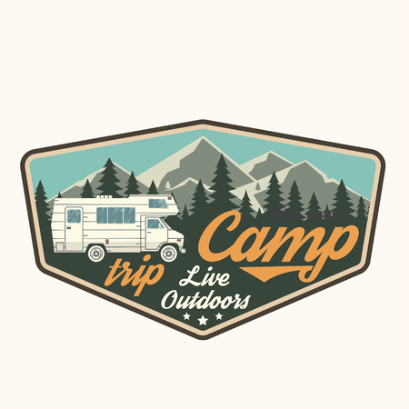 Camp trip. Live outdoors. Vector illustration.  イラスト・ベクター素材