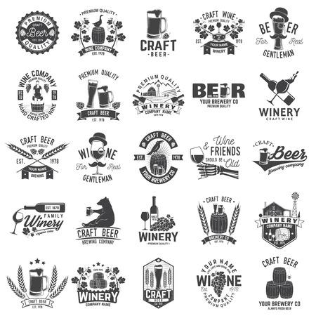 Conjunto de insignia, letrero o etiqueta de la empresa de cerveza artesanal y bodega. Ilustración vectorial