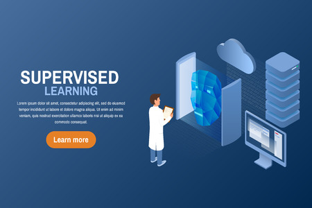 Supervised learning task concept. Artificial intelligence. Isometric vector illustration