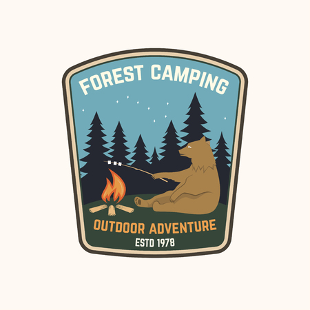 Forest camping. Vector illustration.