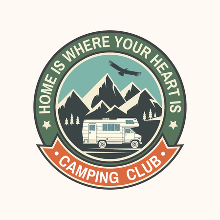Camper and caravaning club. Vector illustration. Stock Vector - 103098636