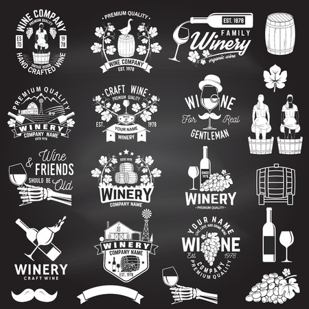 Set of wine company badge, sign or label with design element on the chalkboard. Vector. Vintage design for winery company, bar, pub, shop, branding and restaurant business. Coaster for wine glasses