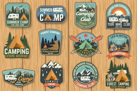 Set of Summer camp badges on the wood board. Vector.