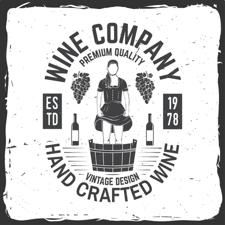 Wine company badge, sign or label. Vector illustration. Illustration