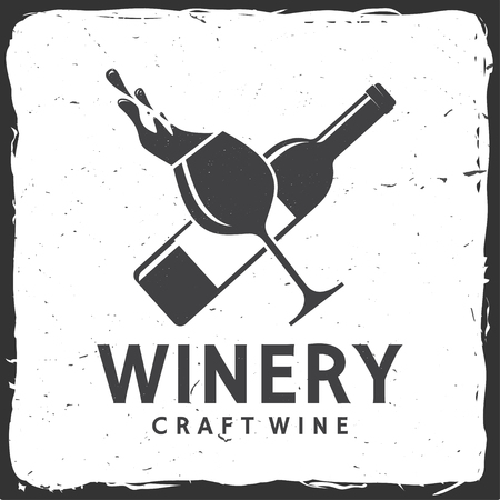 Craft wine. Winery company badge, sign or label. Vector illustration.