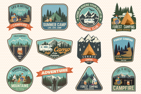 Set of Summer camp badges. Vector. Concept for shirt or logo, print, stamp, patch or tee. Archivio Fotografico - 104198120