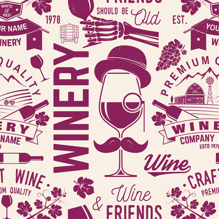 Winery seamless pattern or background. Vector illustration.  イラスト・ベクター素材