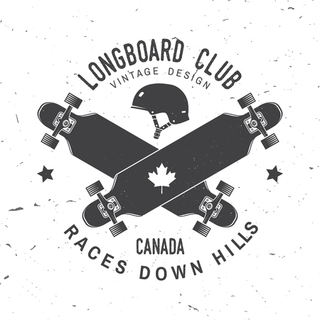 Longboard club badge. Vector illustration. Extreme sport. Ilustracja