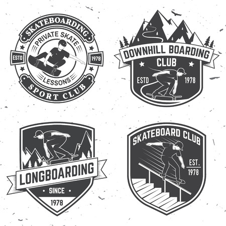 Set of Skateboard club badges. Vector illustration. Ilustracja