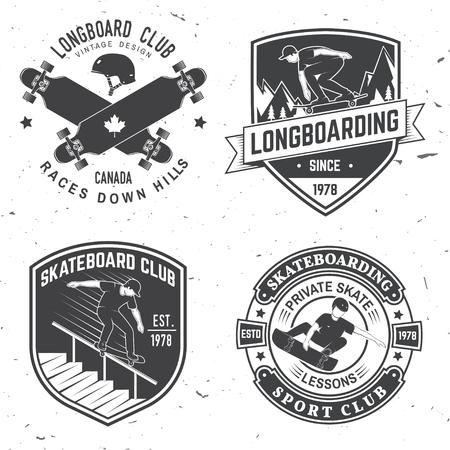 Set of Skateboard and longboard club badges. Vector illustration Illustration