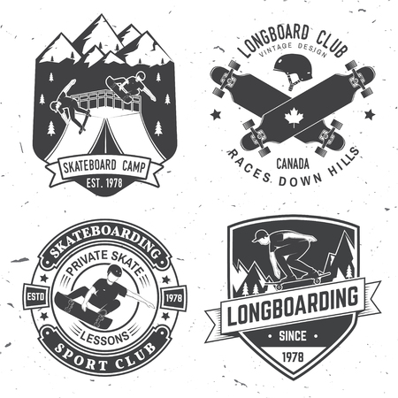 Set of Skateboard and longboard club badges. Vector illustration Stock Illustratie