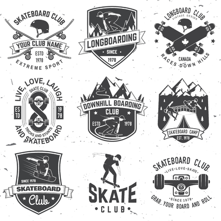 Set of Skateboard and longboard club badges. Vector illustration Archivio Fotografico - 104198215