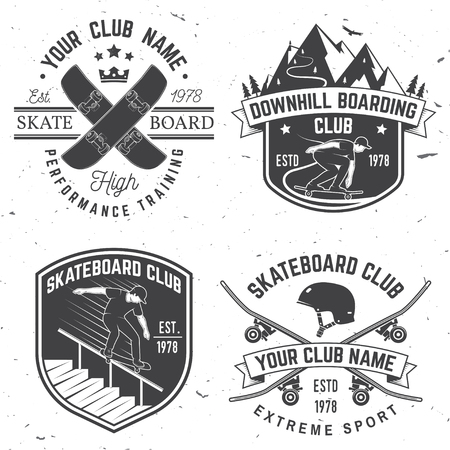 Set of Skateboard and longboard club badges. Vector illustration Illustration