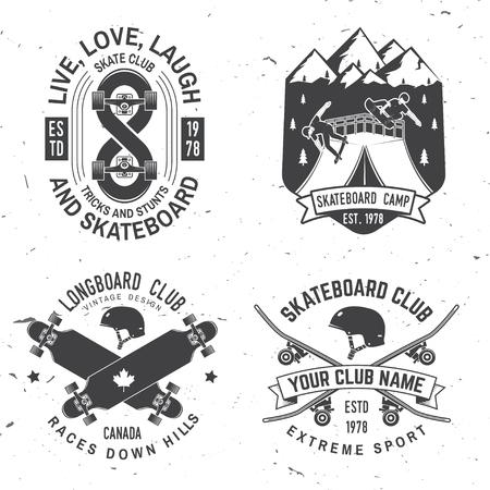 Set of Skateboard and longboard club badges. Vector illustration Stock Illustratie