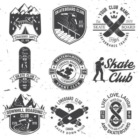 Set of Skateboard and longboard club badges. Vector illustration Ilustracja