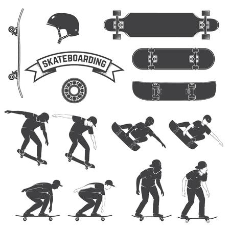Conjunto de icono de patineta y patinadores. Ilustración vectorial.