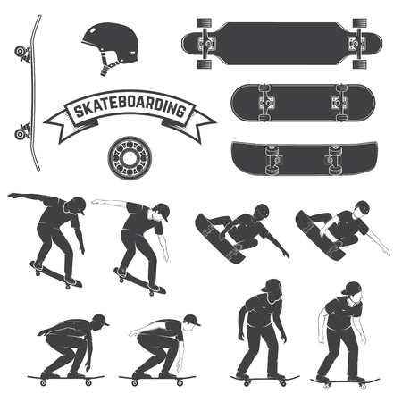 Set of skateboard and skateboarders icon. Vector illustration.