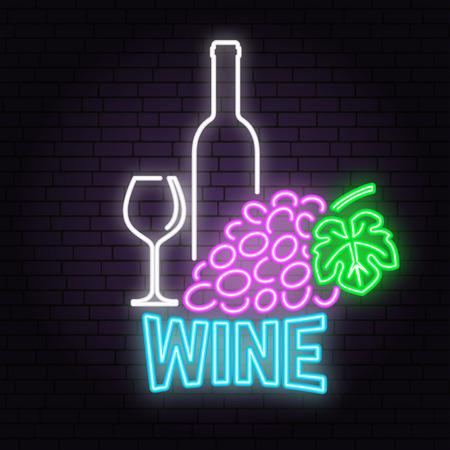 Retro neon wine sign on brick wall background. Vectores