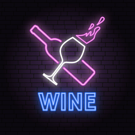 Retro neon wine sign on brick wall background. Illustration